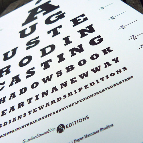 Art. Auguste Rodin Eye Chart. Letterpress. CONCEPT, DESIGN, MARKETING.